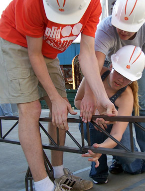 Students shine annually in regional and national competition by participating in the ASCE Steel Bridge competition. The team designs and fabricates bridge components that are as light as possible but can also sustain a 2,500-pound load.