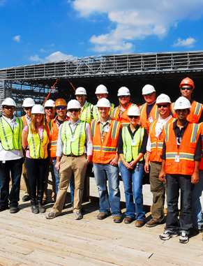 We regularly take field trips to construction companies and project sites to reinforce the skills and knowledge learned in the classroom. Here, students visit the Boeing construction site in North Charleston, S.C.