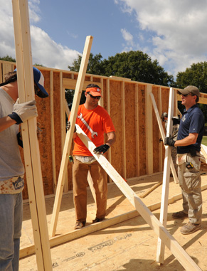 Each year, construction science and management students help construct a Habitat for Humanity house on Bowman Field during Homecoming week. Clemson's Habitat for Humanity was named Campus Chapter of the Year in 2008.