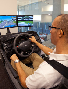 Psychology students work in a variety of high-tech laboratories. These include the driving simulator lab, where students conduct numerous experiments designed to assess driving patterns and the effects of technology on driving behavior.