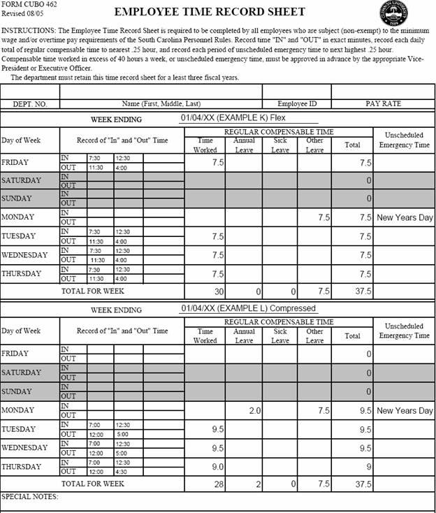 Printables Timesheet Worksheet timesheet examples clemson university south carolina ex 6