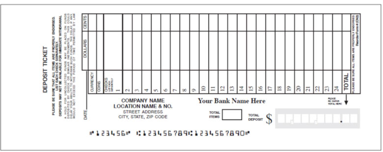 Sample deposit ticket