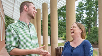 Andrew Whitley and Kerrie Seymour share a laugh outside Brooks Theatre on the Clemson campus