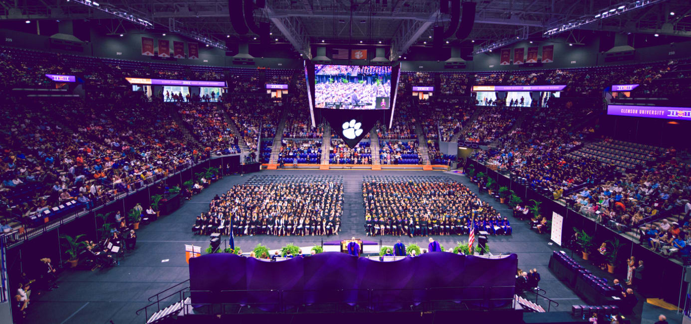 President Clements addresses the class of 2019 during a graduation ceremony in Littlejohn Coliseum.