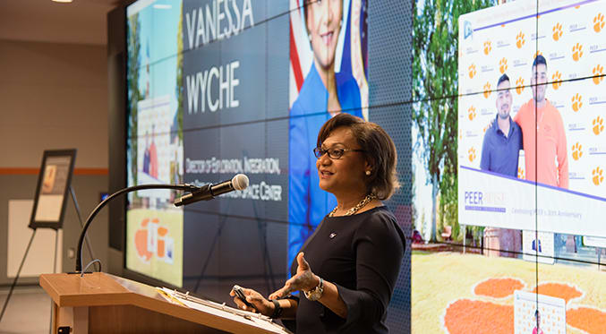 Clemson alumna and deputy director of NASAs Johnson Space Center Vanessa Wyche gives a presentation on campus.