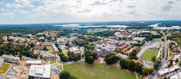 Aerial shot shows campus, Lake Hartwell and the areas surrounding Clemson, SC.
