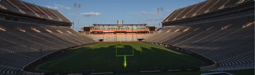 Clemson's football stadium sits empty, awaiting fans and competitors.