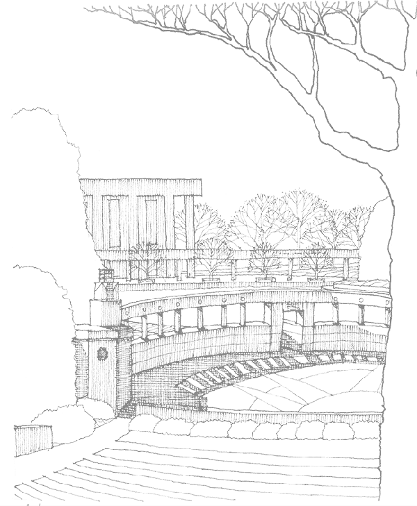 James Barker Sketch of The Clemson amphitheater and library