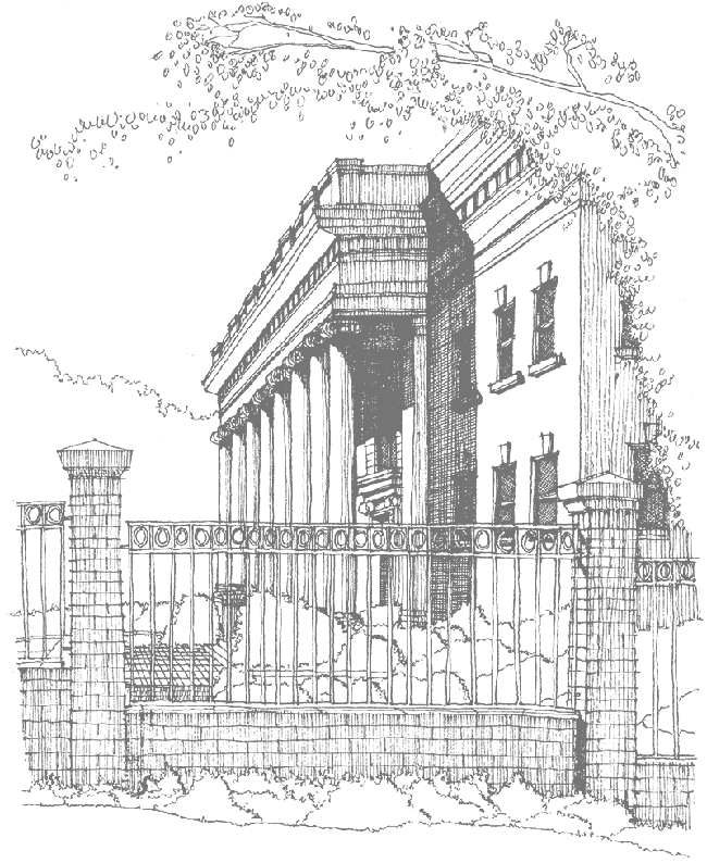 James Barker sketch of Sikes Hall