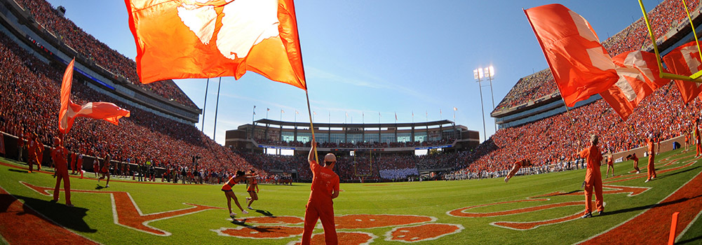 Flags in Death Valley Stadium at Clemson University, South Carolina
