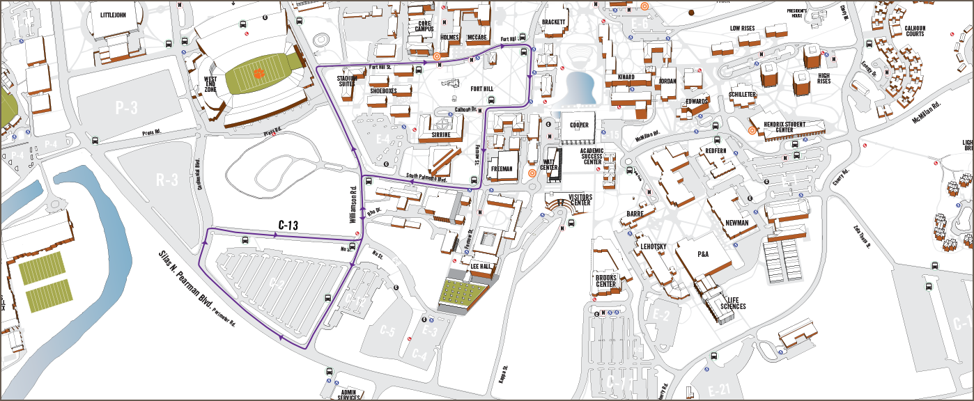Clemson University Campus Map Campus Routes | Clemson University Student Affairs