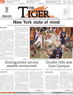 Clemson's primary campus newspaper is written, edited and designed by Clemson students from all academic backgrounds who work together to produce the weekly publication.
