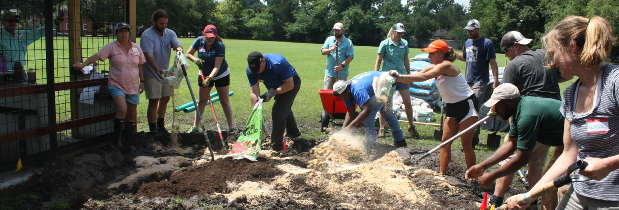 Participants filed work with Clemson Extension Rain Garden Workshop