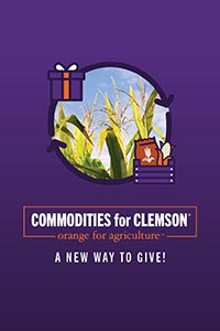 Commodities for Clemson graphic with pictures of wheat and corn