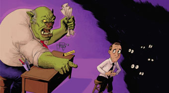 Cartoon of a troll-like boss yelling at employee - Illustration by Mark Bleckley