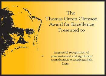 Thomas Green Clemson Award for Excellence plaque at Clemson University, Clemson South Carolina
