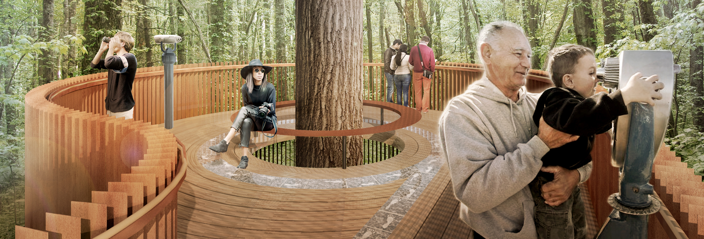 architect's rendering of the South Carolina Botanical Garden's Tree House Memorial